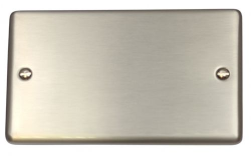 G&H CSS32 Standard Plate Brushed Steel 2 Gang Double Blank Plate